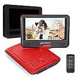 PUMPKIN Lecteur DVD portable Enfant 5 Heures Batterie Rechargeable avec écran rotatif 270° soutient USB SD MP3 CD Intégré 3m AC DC Adaptateur et Etui de Montage Appuie-tête (Rouge)