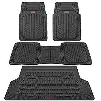 Motor Trend Premium FlexTough All-Protection Cargo Liner - DeepDish Front & Rear Mats Combo Set – w/ Traction Grips Black