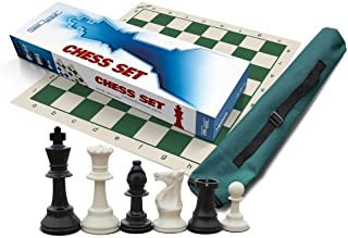 School, Club & Tournament Chess Set, 34 White & Black Chess Pieces (4 Queens), 3.75 inch Tall King, Green 20 x 20 inch Chess Board, Green Tube Tote (Archer Quiver), Instructions on How to Play Chess