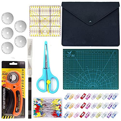 DONGQI Conjunto de Corte Rotativo, Cuchilla Rotativa de 45mm con Material Auxiliar: Tablero para Corte A4, Mosaico con Reglas, 30 Pinzas para Tela, 50 Agujas y 5 Hojas de Repuesto