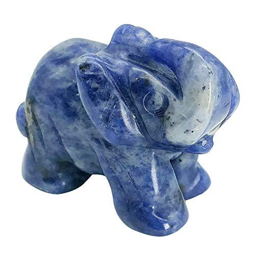 "favoramulet Sodalite Handcarved Elephant Statue Pocket Healing Figurine Sculpture 1.5"""