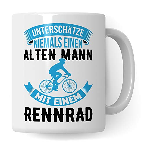 Pagma Druck Rennrad Tasse, Geschenk Rennradfahrer, Becher Fahrradmotiv Fahrrad, Rennrad Geschenkideen lustig Radfahren Radfahrer Rennradfahrer Kaffeetasse