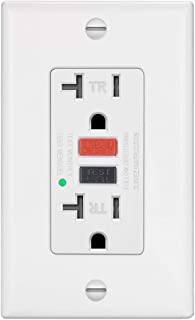 ELECTECK GFCI Outlet Receptacle with LED Indicator, 20A/125V/1875W, Tamper-Resistant (TR), Decor Wall Plate and Screws Included, ETL Certified, White