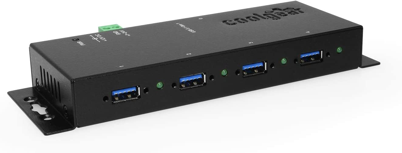 Coolgear USB 3.0 4-Port Industrial Hub Metal Case with Screw Lock Cable Option
