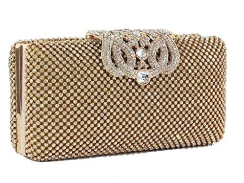 Deslumbrante bolso de noche con cristales de pedrería, en color dorado, para fiestas, bodas
