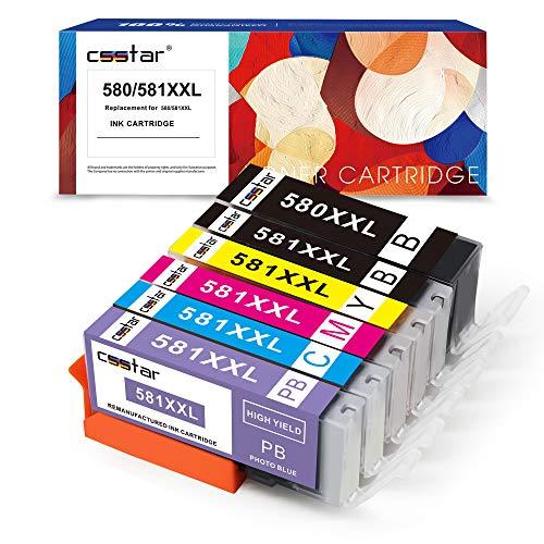 CSSTAR Compatibili Cartucce d'inchiostro Sostituzione per Canon PGI 580 CLI 581 per PIXMA TS6150 TS6151 TR7550 TS8150 TS8151 TS8152 TR8550 TS9150 TS9155 Stampante - PGBK/BK/C/M/Y/PB