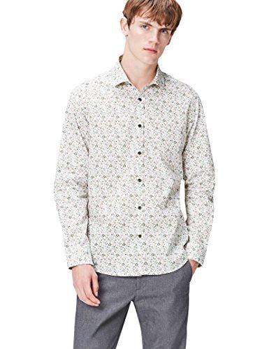 FIND Camisa Entallada con Estampado de Flores para Hombre, Multicolor (Floral), Large