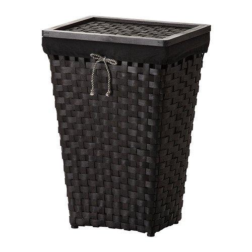 IKEA KNARRA–Wäschekorb mit Futter, schwarz, braun