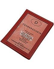 Cuero Tarjetero para documento de Identidad en Cuero de beccero o Cuero de búfalo MJ-Design-Germany (Búfalo Rojo)