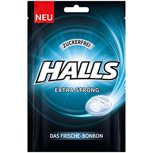 Halls Bonbons Extra Strong zuckerfrei 65 g / Frischebonbon Eukalyptus-Menthol