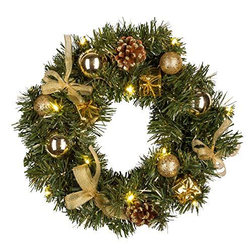 Idena 30139 - Weihnachtskranz mit 10 LED warm weiß, mit 6 Stunden Timer Funktion, Batterie betrieben, für Deko, Weihnachten, Advent, als Stimmungslicht, Türkranz, ca. 25 cm