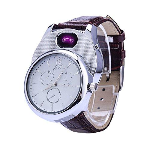 Aibote Mechero de Plasma Multifuncional USB ARC con Reloj de Cuarzo Recargable Deportivo a Prueba de Viento Encendedor sin Llama para Hombres y Mujeres, Plateado Blanco