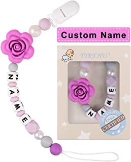 Pacifier Clip Personalized Name TYRY.HU Girls Binky Holder Baby Silicone Paci Clip BPA Free Chewable Beads Teething Relief Teether Toy Handmade Newborn Birthday Shower Gift Christmas (Purple Rose)