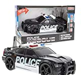 Friction Powered Police Car Toy Rescue Vehicle with Lights and Siren Sounds for Boys Toddlers and Kids, Pull Back 1:20 Diecast Emergency Transport Vehicle Car