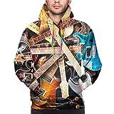 Ye Hua Sweat-Shirt Hooide imprimé en 3D de Musique de Guitare électrique Magique avec Poche XL