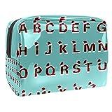 Bolsa de maquillaje portátil con cremallera bolsa de aseo de viaje para las mujeres práctico almacenamiento cosmético bolsa 26 letras inglesas