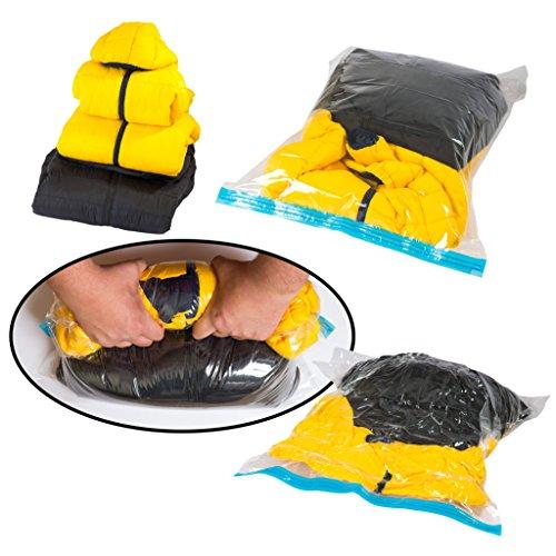 5er Set Reisevakuumbeutel Vakuumbeutel Kompressionsbeutel extra stark für Kleidung ohne Staubsauger oder Pumpe – zum Aufrollen rollen – und hochwertig – Reisebeutel backpacking Rucksack