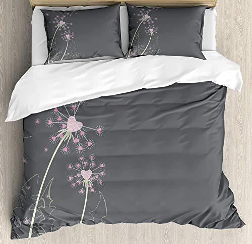 Juego de sábanas rosa y gris de 3 piezas Juego de funda nórdica, flo