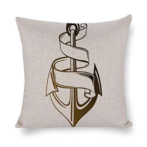 Perfecone Home Improvement - Funda de almohada de lino de imitación de doble cara, diseño de ancla y cuerda para el sofá y el coche, 1 paquete de 40 x 40 cm