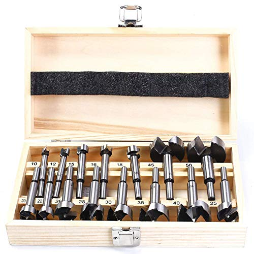 Beada Forstner Drill Bit Set 15 Pcs 10mm - 50mm Woodworking Hole Saw Drilling Cutting Tool Kits for Woodworking, Furniture, Door Hinge Boring Hole