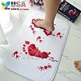 Halloween Bathroom Rug, STCORPS7 Horror Blood Bath Mat Footprints Halloween Decor Floor Rug Carpet Best Trick Props
