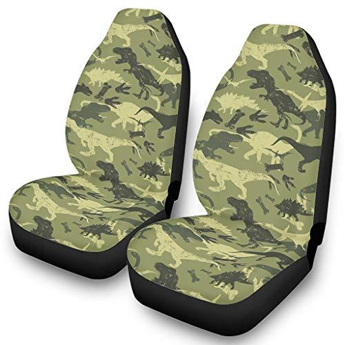 2 fundas de asiento de camuflaje para coches, accesorios de vehículos, antideslizantes, con ampliación elástica, para la mayoría de los coches, color blanco, talla única