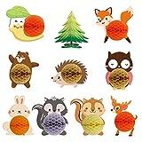 Wild One Woodland Animales Bola de panal de abeja, centros de mesa decoración para baby shower, niños, cumpleaños, fiesta temática de animales, hogar, decoración de habitación infantil