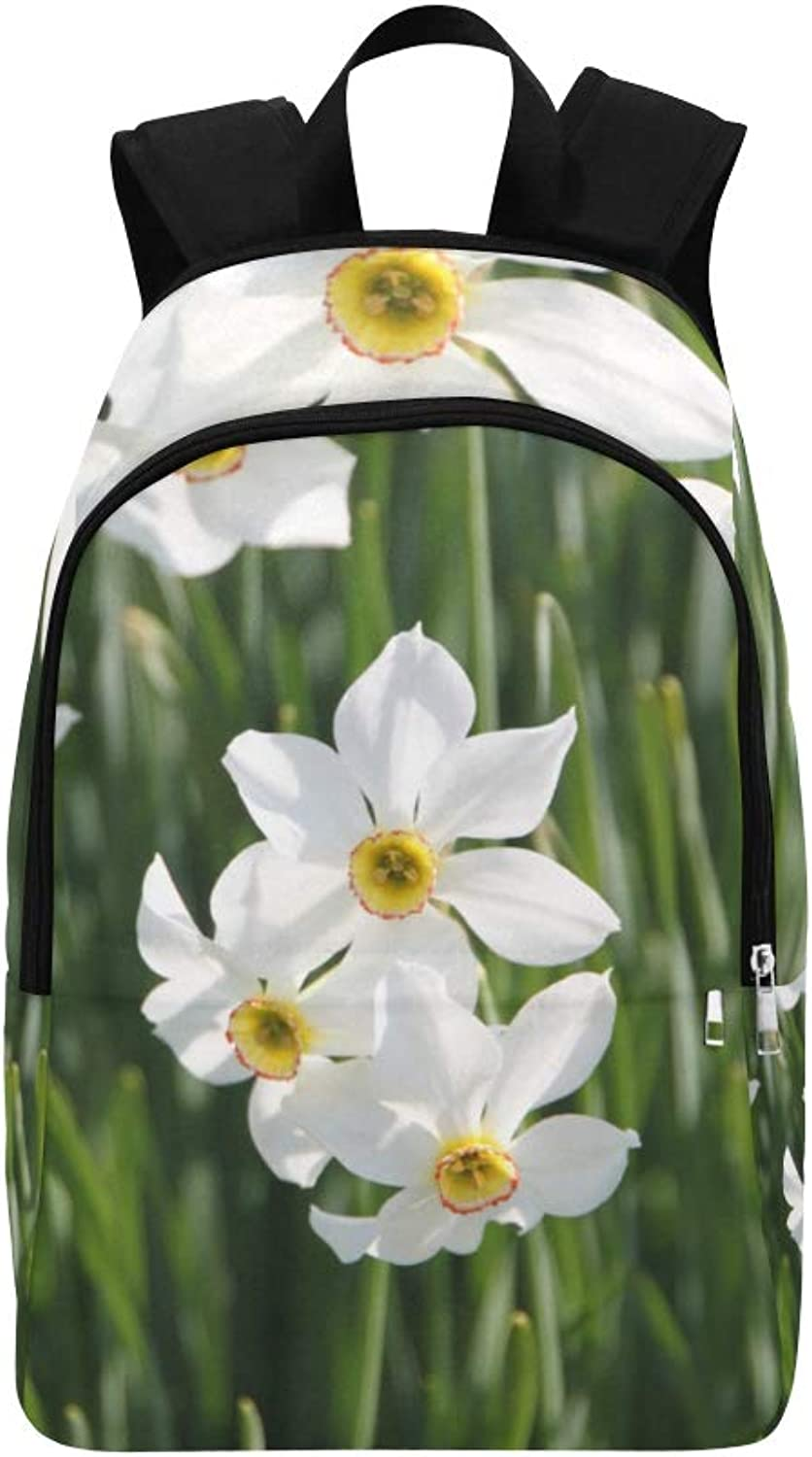 Beautiful White Daffodil Flower Casual Daypack Travel Bag College School Backpack for Mens and Women