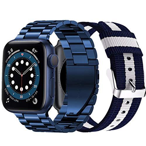 2 juegos de correas para Apple Watch Band Series 6 5 4 Se pulsera para Iwatch 3 correas de acero inoxidable Nylon Correa