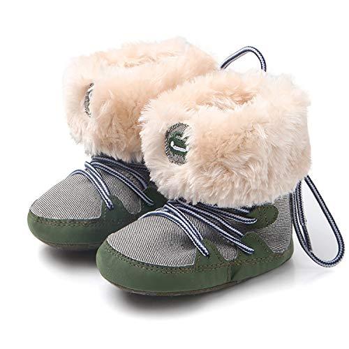 Fad-J Premiers Bottes pour Enfants d'hiver Walker Chaussures à Fond Mou Nouveau-né Laçage pour Tout-Petits (0-2 Ans),Green,12cm