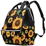 Inhomer Sunflowers Diaper Bag Travel Mom Bags Nappy Backpack Large Capacity for Baby Care