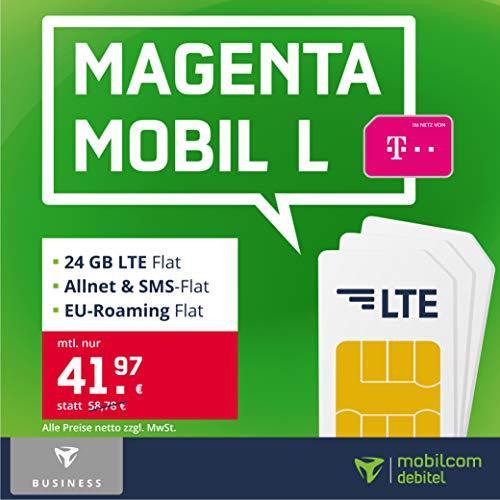 Telekom Handyvertrag Magenta Mobil L – 24 GB LTE Internet Flat, Allnet Flat Telefonie & SMS in alle Deutschen Netze, EU-Roaming, 24 Monate Laufzeit [Business Only]