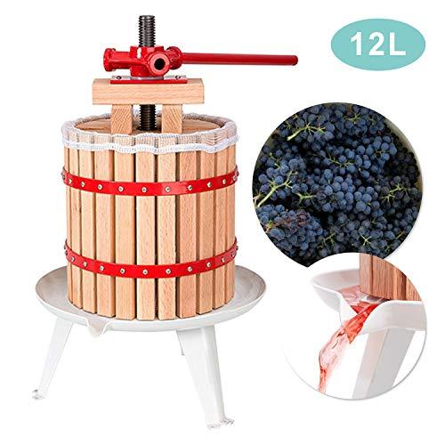 wolketon Obstpresse 12L Presse Obstpresse Saft Zitruspresse Beerenmühle Presse Frucht Weinpressen inkl. Pressnetz
