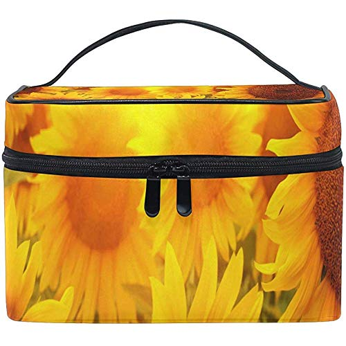 Cosmetic Bag, Field of Sunflowers Travel Makeup Organizer Bag Cosmetic Case Portable Train Case