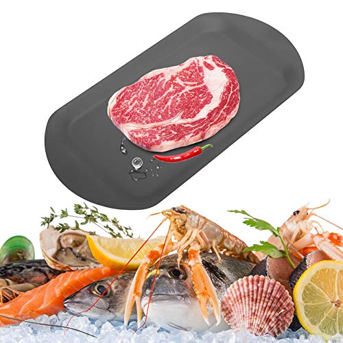 Vassoio di scongelamento per carne 2 in 1 Vassoio di scongelamento rapido in alluminio Alimenti per carne Scongelamento Piatto Accessorio da cucina (nero)