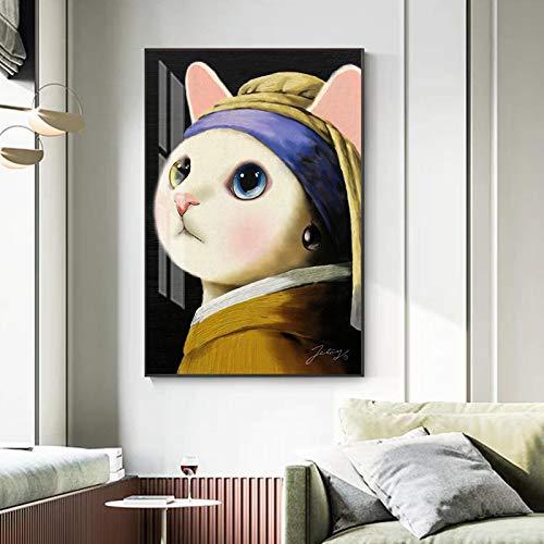 Lienzo arte abstracto broma famosa pintura moderna flauta grande pared arte imagen para sala de estar perla pendientes cartel impresión 60x90cm sin marco