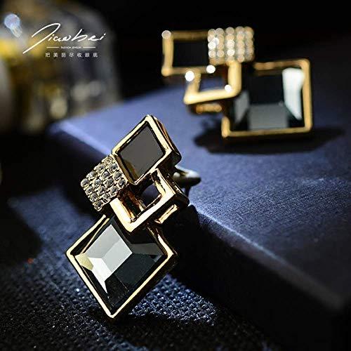XIANGAI Elegant Geometric earrings female temperament simple fashion earrings pendant/hipsters wild no ear pierced ear clip jewelry earrings/gift,black,Stud earring