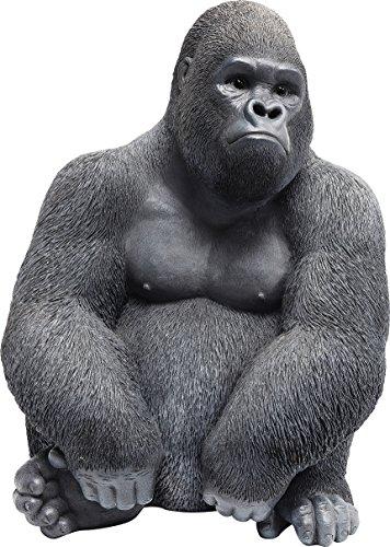 Kare Design Deko Figur Gorilla Side Medium, kleine Dekofigur in Form eines Gorillas, ausgefallene Wohnzimmer Dekoration, Dekofigur Gorilla Schwarz, Dekoobjekt Affe (H/B/T)38,5x30x28cm
