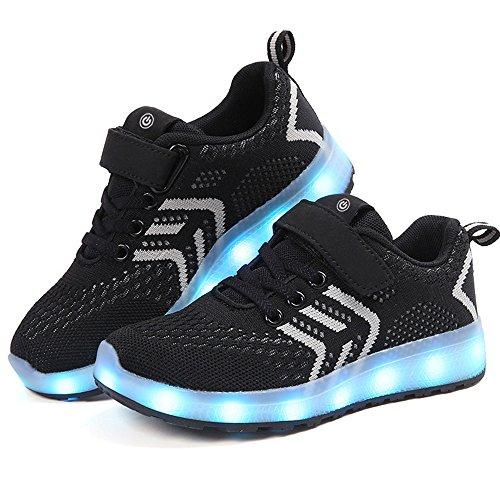 zicai LED Sportschuhe für Kinder USB Aufladen Blinkschuhe Jungen Sneakers Laufschuhe Turnschuhe Trainer Blinkschuhe Schuhe Für Mädchen 25-37
