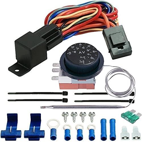 15,24 cm cubierta American Volt Ventilador de refrigeraci/ón de radiador de motor el/éctrico reversible de 12 V y kit de interruptor de termostato ajustable