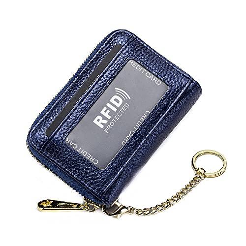 Cuero auténtico cremallera alrededor de la cartera primera capa de cuero de vaca RFID bloqueo de órgano tarjeta Holde monedero monedero hombres mujeres embrague bolsa llavero, Blue (Azul) - CL-7194