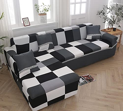 Funda Sofa 4 Plazas Chaise Longue Cuadros Blanco Y Negro Fundas para Sofa con Diseño Universal,Cubre Sofa Ajustables,Fundas Sofa Elasticas,Funda de Sofa Chaise Longue,Protector Cubierta para Sofá