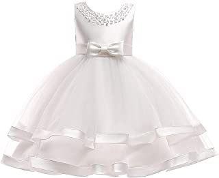 Flower Girl Dress Wedding Party Pageant Princess Dresses for Girls Sleeveless Tulle Ruffles Bow Tie Sundress 4-13 Years
