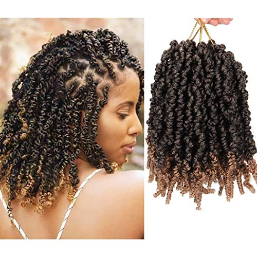 4 Packs Pre-twisted Spring Twist Crochet Hair Short Curly Crochet Braids Pretwisted Passion Twists Bomb Twist Bob Pre-looped Synthetic Hair Extensions (8 Inch,T27#)