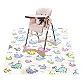 Baby High Chair Splat Floor Mat, 43.3″Waterproof Washable Anti Slip Splash Mat for Eating Mess Floor Protector, Table Cloth and Picnic Mat
