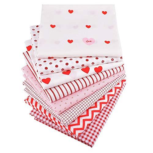 MJARTORIA 8PCS Baumwollstoff Meterware Reste Jersey Stoff zum Nähen Valentinstag Baumwoll Stoff Stoffpaket Rosa je 50cmx50cm(Rot,50x50cm)