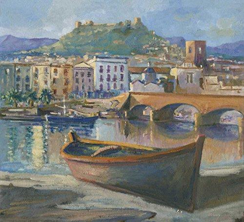 AFDRUKKEN-op-GEROLDE-CANVAS-Boot-op-de-rivier-van-Bosa-Sardinië-Zucca-Gianfranco-Kust-Afbeelding-gedruckt-op-canvas-100%-katoen-Opgerolde-canvas-print-Kuns-Afmeting-115_X_128_cm