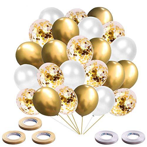ZHOUHON 60 Pezzi Palloncini Metallici Dorati, Palloncini coriandoli, Palloncini Bianchi, per la Laurea di Compleanno Compleanno Doccia Nuziale Baby Shower Decorazione per Feste (d'oro)