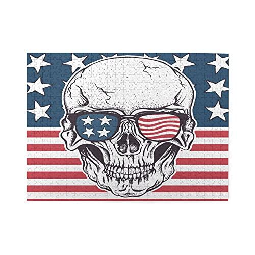 Rompecabezas de 500 piezas,cráneo americano con gafas de sol en la ilustración vectorial de la bandera de EE.UU.,Gran juego de rompecabezas familiar