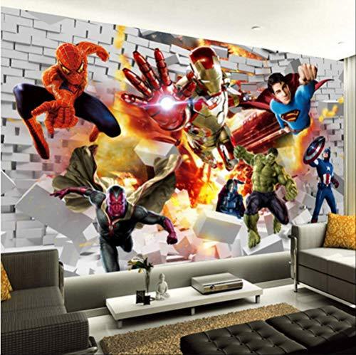FANGXUEPING Avengers Wallpaper 3D Foto Tapete Hulk Iron Man Superman Wand Wand Junge Schlafzimmer Ziegel Tapete Für Wände Tv Hintergrund Dekor Breite 200cm * Höhe140cm pro
